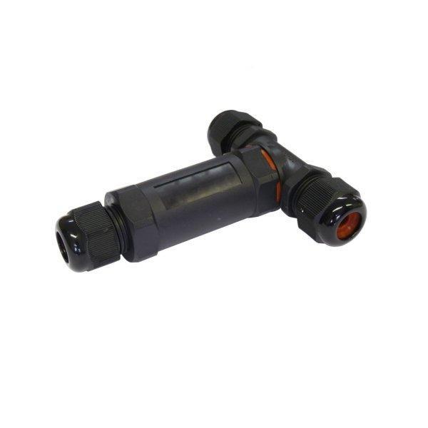 LED21 Plastová kabelová spojka T IP68, vodotěsná